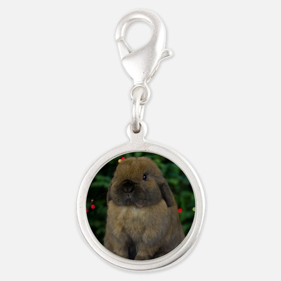 Christmas Bunny Silver Round Charm