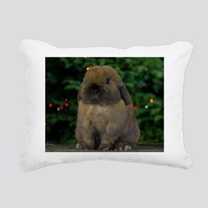 Christmas Bunny Rectangular Canvas Pillow