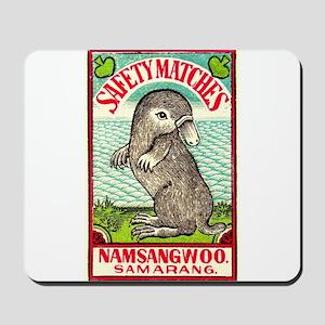 1930 Indian Platypus Antique Matchbox Label Mousep