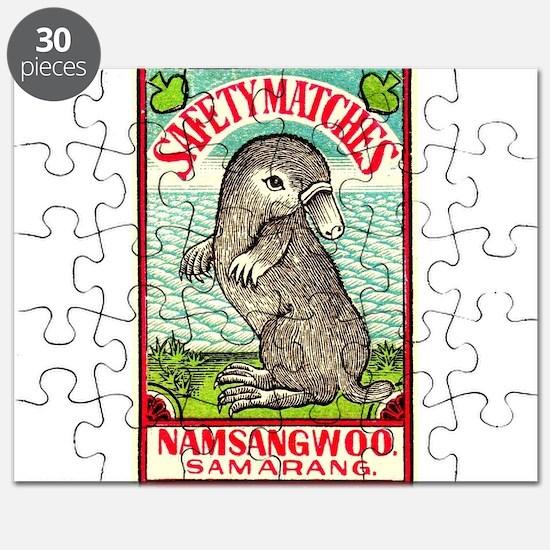 1930 Indian Platypus Antique Matchbox Label Puzzle