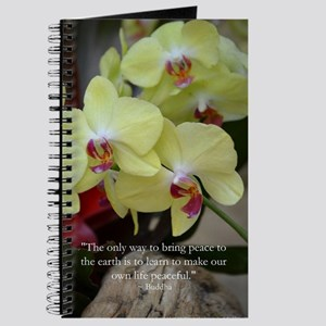 Yellow Orchid with Buddha Quote Journal