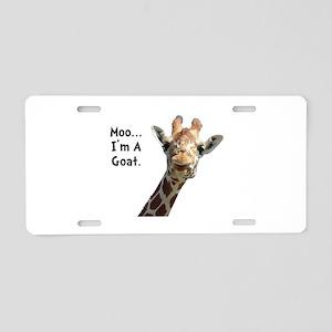 Moo Giraffe Goat Aluminum License Plate