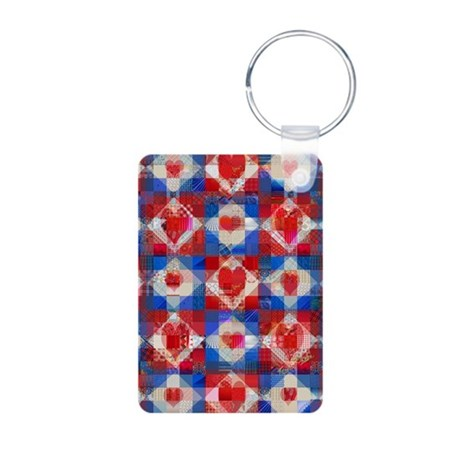 Red Heart Patchwork Quilt Aluminum Photo Keychain
