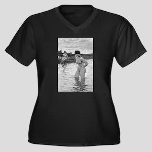 73 Women's Plus Size V-Neck Dark T-Shirt