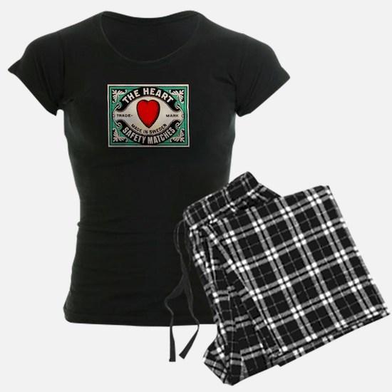 Antique Swedish Heart Matchbox Label Pajamas