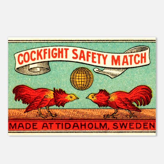 Antique Swedish Cockfight Matchbox Label Postcards