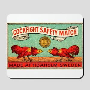 Antique Swedish Cockfight Matchbox Label Mousepad
