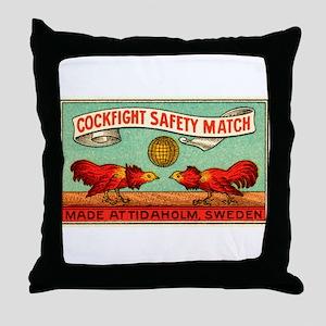 Antique Swedish Cockfight Matchbox Label Throw Pil