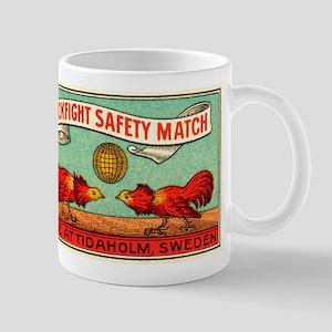 Antique Swedish Cockfight Matchbox Label Mug