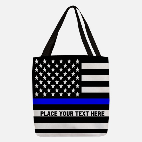 Thin Blue Line Polyester Tote Bag