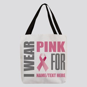 Pink Awareness Ribbon Customized Polyester Tote Ba