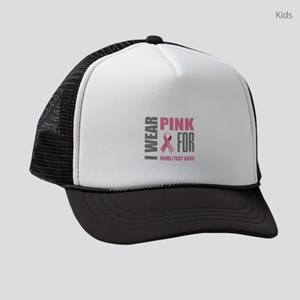Pink Awareness Ribbon Customized Kids Trucker hat