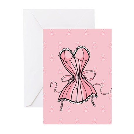 Retro Flirty Pink Corset Greeting Cards (Pk of 20)