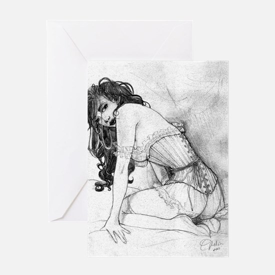 Sultry Woman In Corset Greeting Card