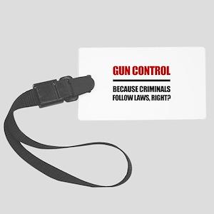 Gun Control Large Luggage Tag