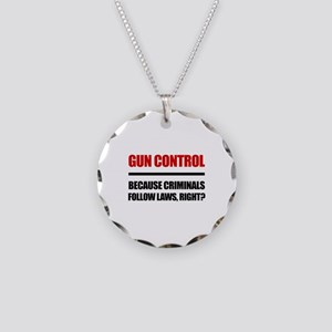 Gun Control Necklace Circle Charm