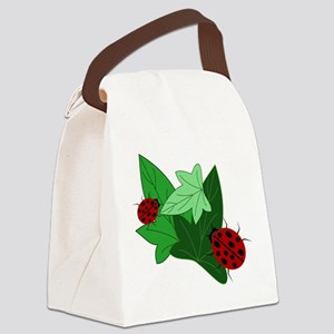 Ladybugs and Ivy Leaves Canvas Lunch Bag