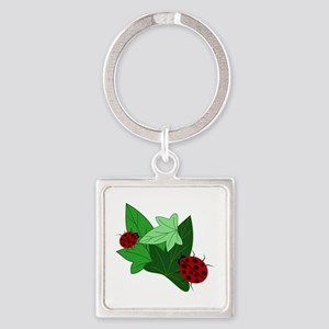 Ladybugs and Ivy Leaves Square Keychain