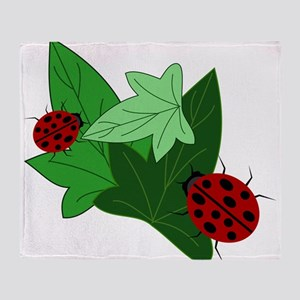 Ladybugs and Ivy Leaves Throw Blanket