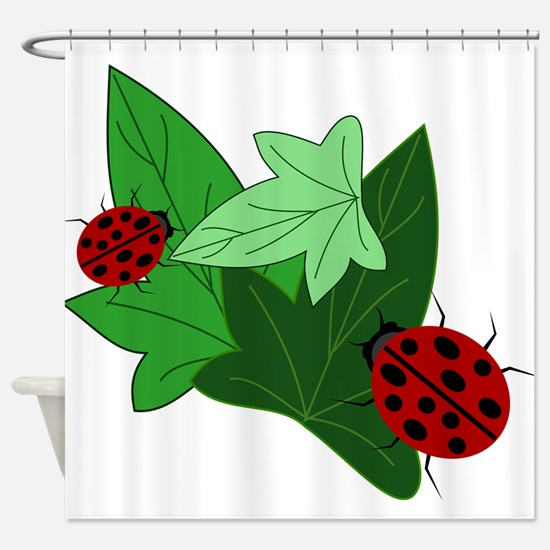 Ladybugs and Ivy Leaves Shower Curtain
