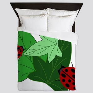 Ladybugs and Ivy Leaves Queen Duvet