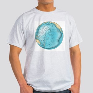 Pacific Ocean sea floor topography - Light T-Shirt
