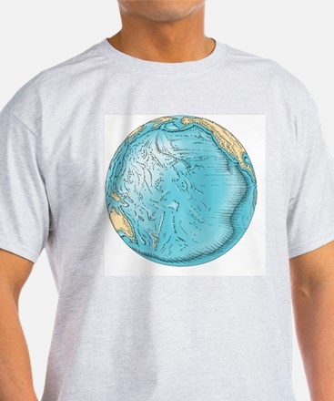Pacific Ocean sea floor topography - T-Shirt