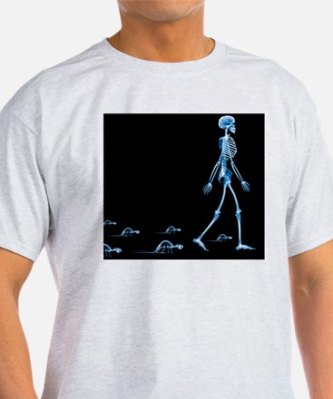 Skeletons of a human and rats, X-ray - T-Shirt