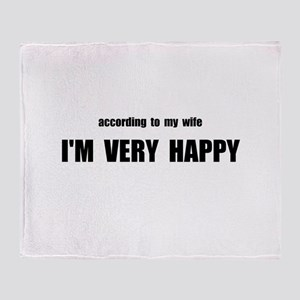 Wife Happy Throw Blanket