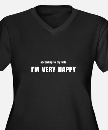 Wife Happy Women's Plus Size V-Neck Dark T-Shirt
