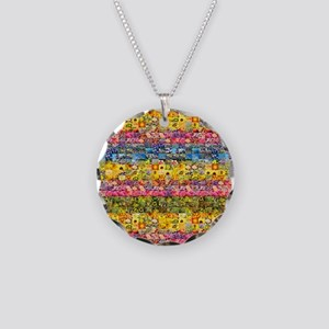Spring Flower Patchwork Quilt Necklace Circle Char
