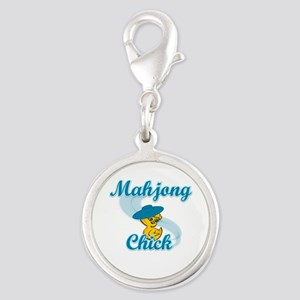 Mahjong Chick #3 Silver Round Charm