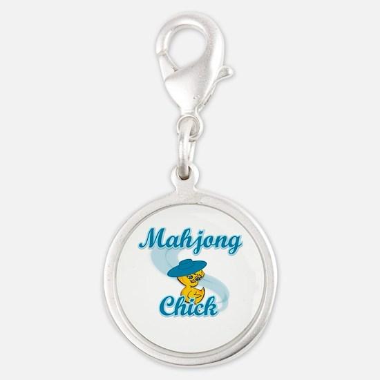 Mahjong Chick #3 Silver Round Charm