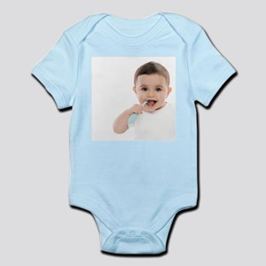 Baby boy with toothbrush - Infant Bodysuit