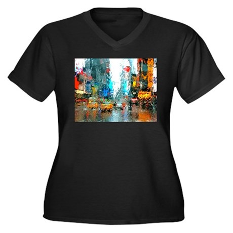 Times Sq. No. 7 Women's Plus Size V-Neck Dark T-Sh