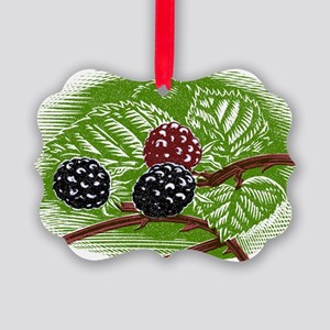 Blackberries, woodcut - Picture Ornament