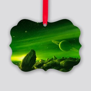 Alien ringed planet, artwork - Picture Ornament