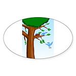 Tree Birds Sticker (Oval 50 pk)