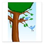 Tree Birds Square Car Magnet 3