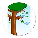 Tree Birds Round Car Magnet