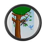 Tree Birds Large Wall Clock
