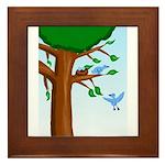 Tree Birds Framed Tile
