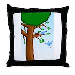 Tree Birds Throw Pillow