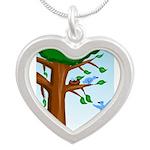 Tree Birds Silver Heart Necklace