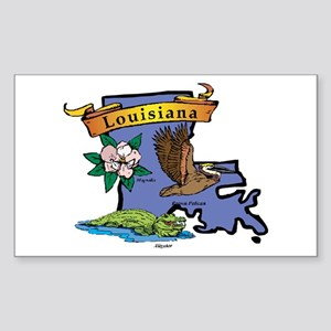Louisiana Map Sticker (Rectangle)