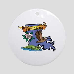 Louisiana Map Ornament (Round)