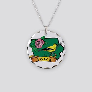 Iowa Map Necklace Circle Charm