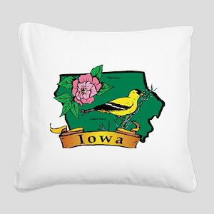 Iowa Map Square Canvas Pillow