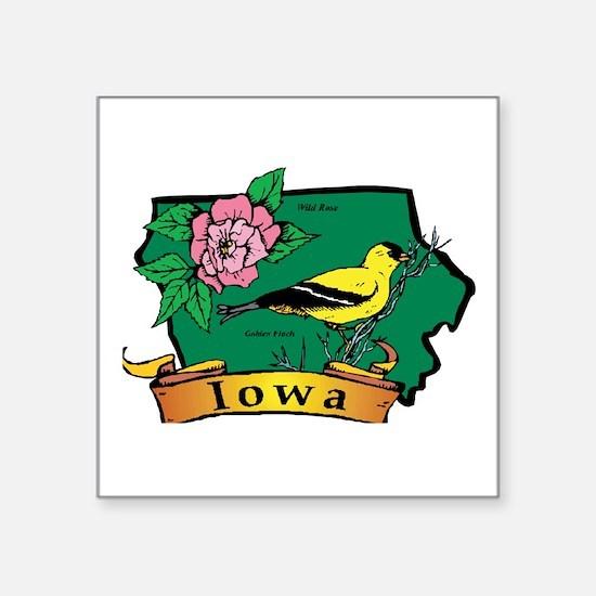 "Iowa Map Square Sticker 3"" x 3"""