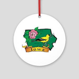 Iowa Map Ornament (Round)